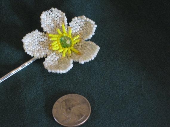 """Bobbie pin with beaded """"globe"""" flower a Rocky Mountain wildflower"""