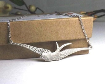 Pendant necklace- bird necklace - silver dove bird necklace-vintage style