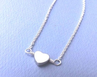 heart necklace -Tiny silver heart necklace - simple, everyday wear