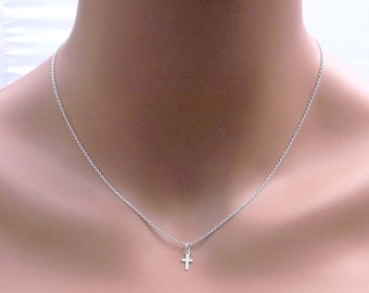 Tiny Cross Necklace, Small Cross Necklace, Silver cross necklace, gold filled cross necklce, rose gold cross necklace, christmas gifts
