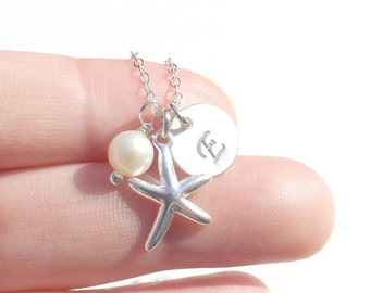 Starfish Pendant, starfish charm, personalized sterling silver starfish pendant necklace - gift for mother, wife, bridesmaid, friend