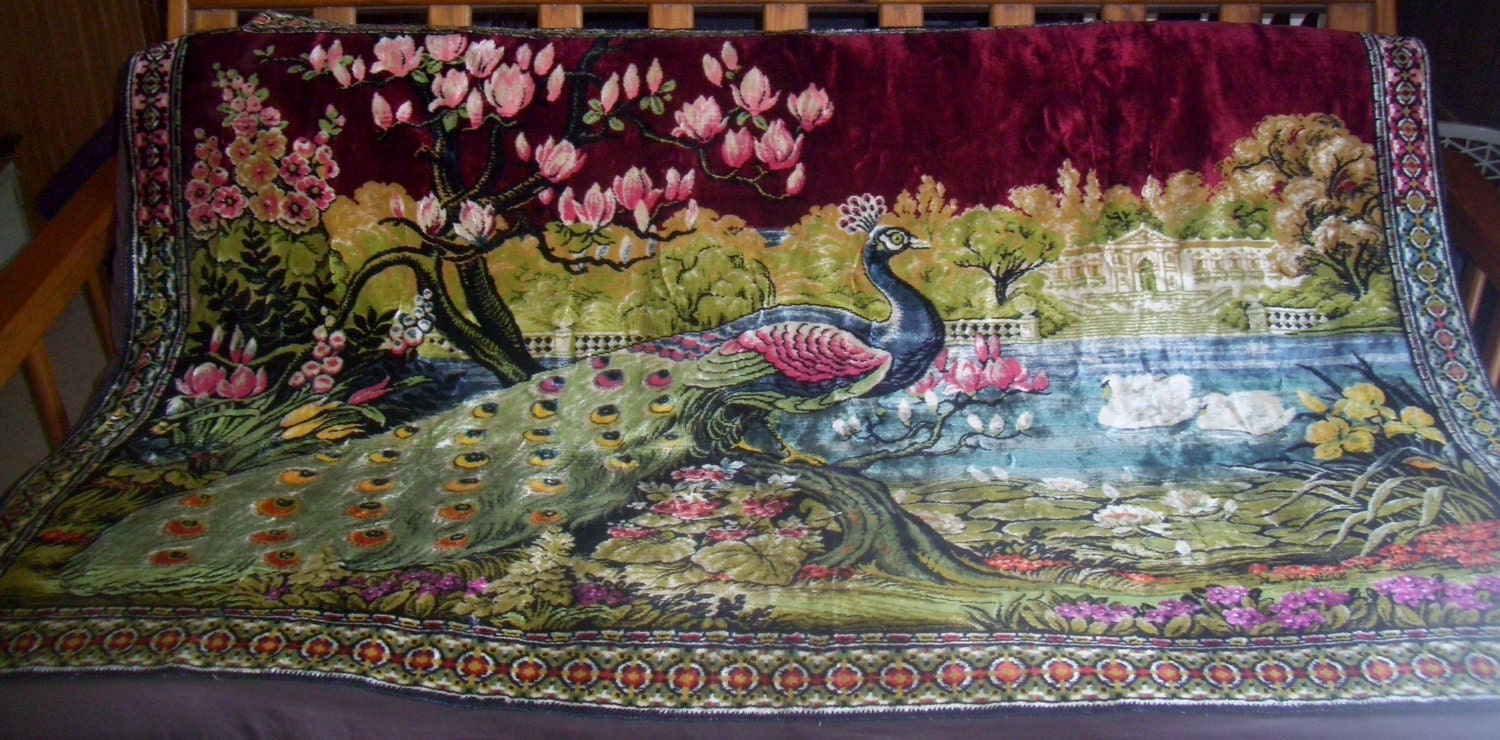 Vintage Large 72x49 1 2 Peacock Tapestry Wall