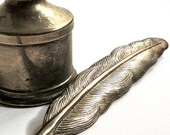 Silver Plated Feather Quill Pen and Ink Pot for your Wedding Day