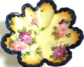 Shabby Chic Bowl, with Handpainted Roses on a Yellow Background