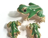 Frog Brooch and Earrings in Green Enamel on a Goldtone Base with Black Rhinestone eyes