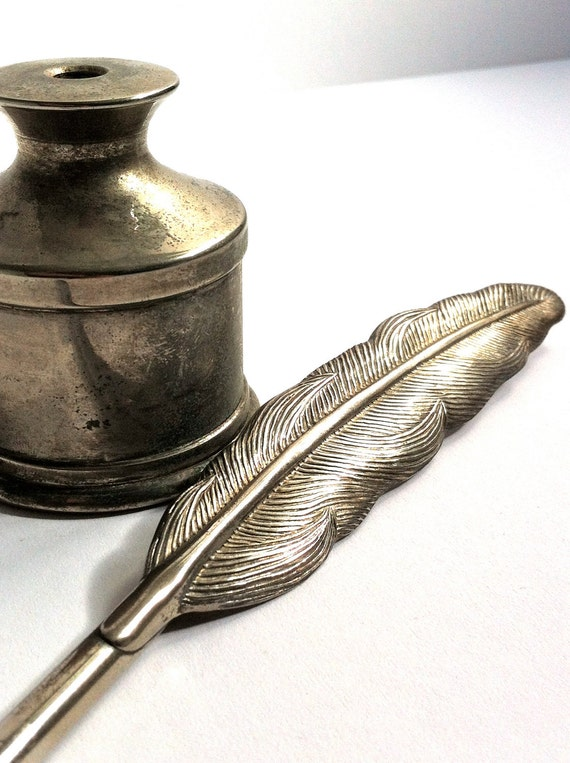 Silver Plated Feather Quill Pen and Ink Pot for your Wedding Quill And Ink Pot Image
