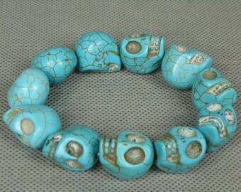 Turquoise Handwork Carved Skull Bracelet