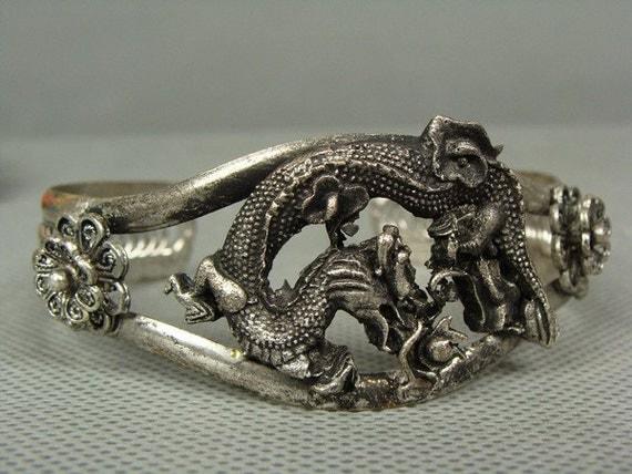 Reserved for Elizabeth - Tibetan Silver Handwork Dragon Bracelet