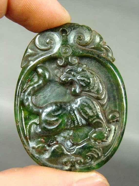 Reserved for Elizabeth - Jade Hand Carved Tiger Pendant / Amulet