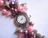 Beaded Cluster Watch Bracelet, Cluster Pearl Watch Bracelet, Quartz Watch Bracelet, Charm Watch Bracelet, Chunky, Pink and Purple Pearls