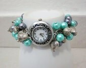 Beaded Cluster Watch Bracelet, Cluster Pearl Watch Bracelet, Quartz Watch Bracelet, Charm Watch Bracelet, Chunky, Turqoise and Grey Pearls