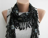 Black floral cotton lace scarf,spring,summer scarf
