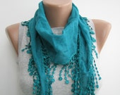 Teal cotton lace summer scarf,headband