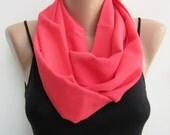 Infinity scarf, rose pink loop scarf, lightweight eternity scarf, handmade circle scarf