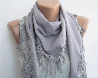 Summer scarf- Gray cotton lace scarf, spring scarf