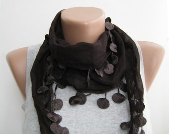 Seal brown cotton lace spring scarf. summer scarf