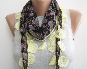 Black multicolor paisley scarf, spring summer scarf
