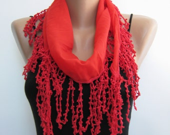 Summer scarf- Red chiffon lace scarf, frilly summer scarf