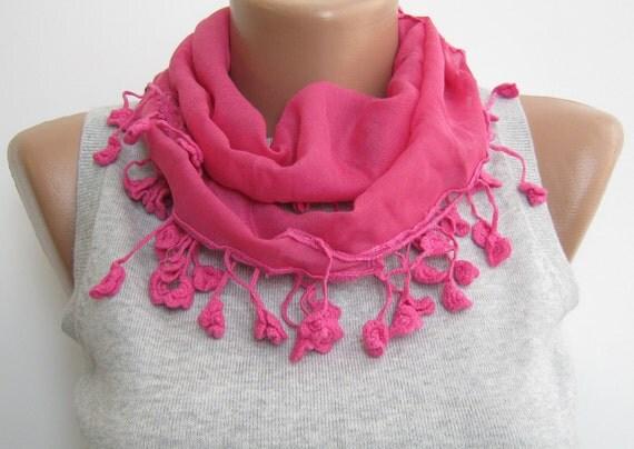 Pink chiffon lace scarf, summer scarf, headband