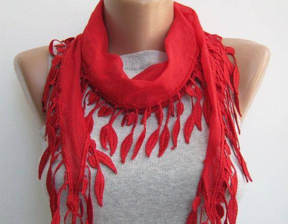 Red bright cotton leaves lace scarf,spring summer scarf
