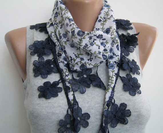 Multicolor floral cotton spring scarf, lace scarf
