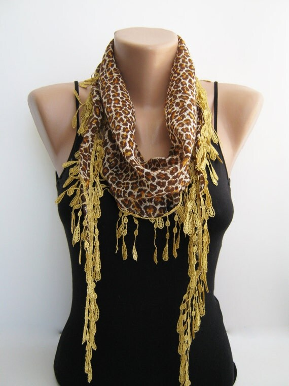 Summer scarf- leopard cotton lace scarf,spring, summer scarf