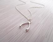 Wishbone Necklace , wish bone, good luck, sterling silver wishbone pendant charm, lucky jewelry, Celebrity Inspired