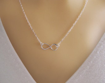 Infinity Love  Necklace - Eternity Circle, Infinity Link, in Sterling Silver - Dainty Necklace