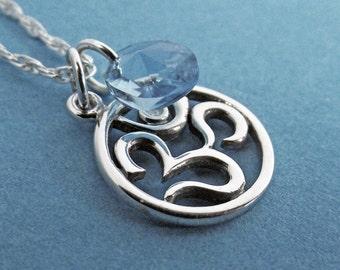 Om Necklace, Ohm Necklace, Diamond Necklace, Sterling Silver Necklace, Charm, Ohm,  Yoga, Crystal