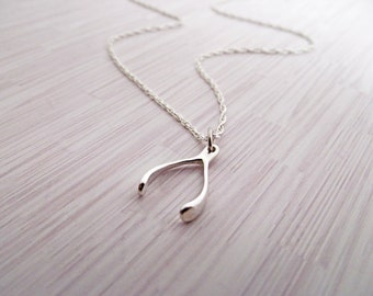 Wishbone Necklace , wish bone, good luck, sterling silver wishbone pendant charm, lucky jewelry, Celebrity Inspired