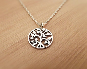Tree of Life Necklace, Chain - Tree of Life Pendant, Silver Necklace, Sterling Silver, Tree of Life Charm, Yoga Necklace, Om