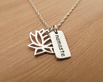 Lotus Namaste Necklace, Silver Necklace, Sterling Silver, Yoga Necklace, Om Ohm Jewelry, Lotus Charm Pendant, Namaste Charm Pendant