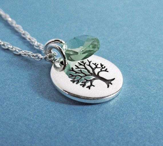 Tree of Life Necklace - Tree of Life Charm. Silver Necklace, Sterling Silver, Crystal Element