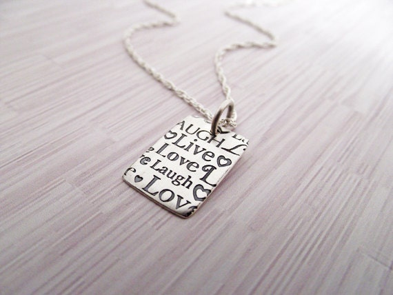 SALE! Live Laugh Love Necklace, Love Jewerly, sterling silver necklace , live , love , laugh
