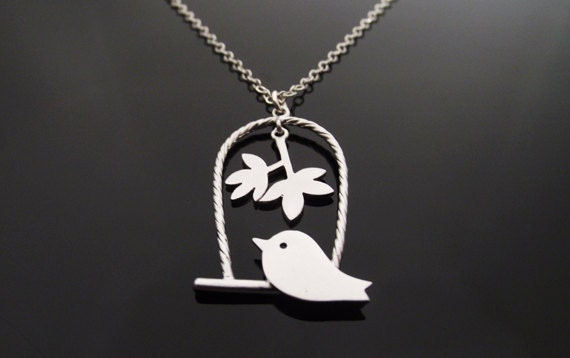Sale! Love Birds on Swing Necklace, Silver Bird Necklace, Silver Sparrow Necklace, Sparrow bird -  Cute, Dainty, mother, mom, teen