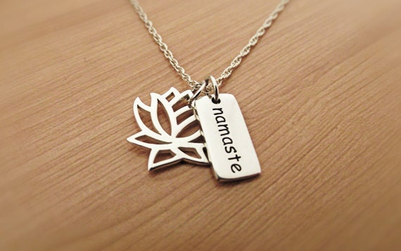 Lotus Namaste Necklace , Silver Necklace, Sterling Silver, Yoga Necklace, Om