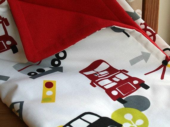 Toddler Blanket, Baby Boy Bedding, Kids Comforter, Red Fleece Blanket, Boys Car Blanket, Cute Stroller Blanket, Helicopter Nursery Decor