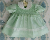 Precious Mint Green Dress w/Eyelet Lace Hand Smocked 3m - 6m
