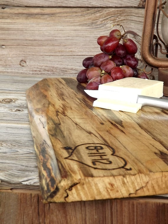 Reserved Listing for Kristen:  Wedding Gift Live Edge Custom Cutting Board Serving Tray