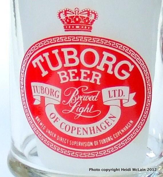 REDUCED! Tuborg Beer Glass Mug: Vintage '80s Clear Glass 12 oz. Mug with Handle