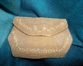 Vintage beaded change purse champagne beads silk mirror