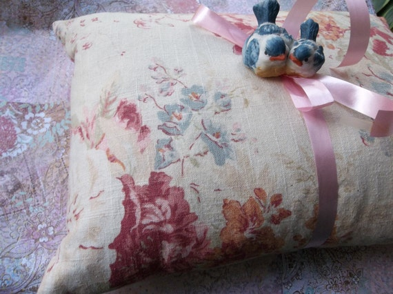 Vintage shabby chic chintz feather pillow cottage pinks blues