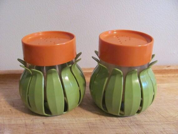 Orange Avocado Green Flower Salt & Pepper Shakers