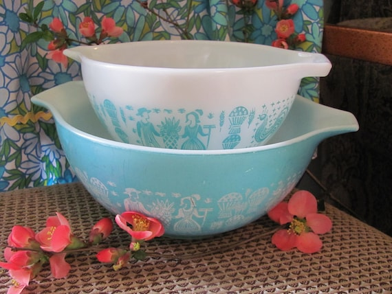 Pair of  Nesting Pyrex Turquoise and White, Butterprint, Cinderella, Mixing Bowls