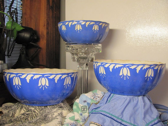 Reserved for LAZYOWL-Early 1900s, Villeroy and Boch, Dresden, Saxony, Blue Tulip Mixing Bowls- 3Nesting Bowls