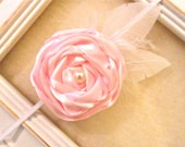 Pink Rose Headband with Feather