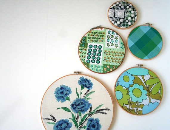 embroidery hoop wall art hanging set of (5): instant collection gallery entirely vintage blue, teal, aqua, green
