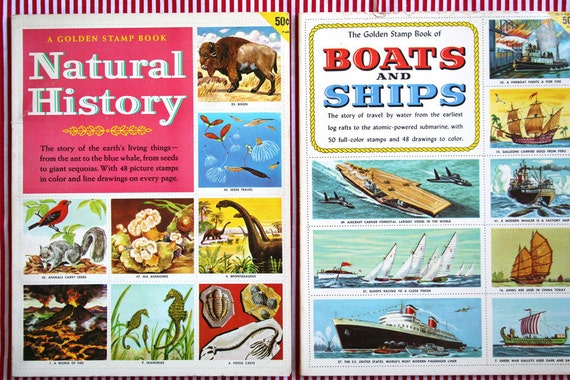 vintage golden stamp book pair set of (2): boats and ships plus natural history like NEW 1950s new old stock