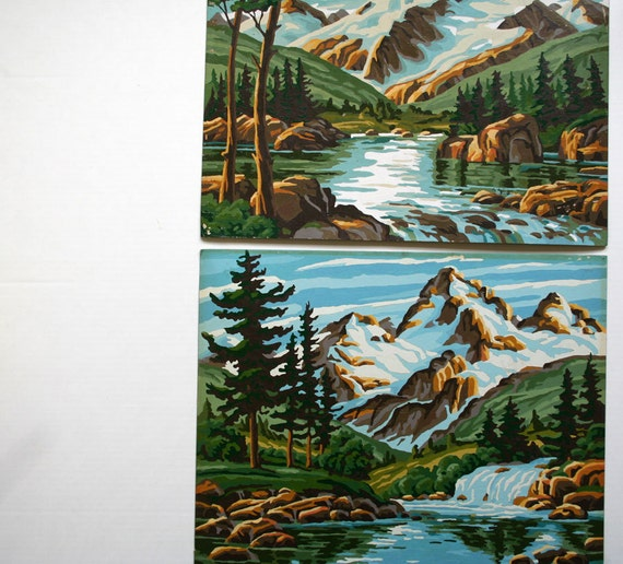 large vintage paint by number pair of (2): mountain landscapes VIBRANT well-done