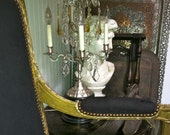 RESERVED for Cristina Extraordinarily Beautiful Stunning Antique French Elegant  Black and Golden Settee-Sofa